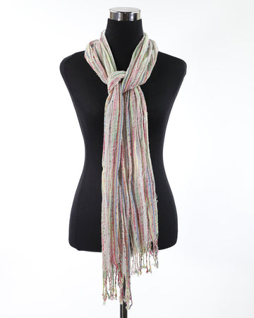 Ladies Scarf One Size Multi Colored Fringed