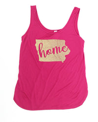 NEW SCREENPRINT 2XL IA Tank Flowy Softstyle (Gold Glitter Ink) Iowa 00 - LN NEW 18.00 Live Now Consign