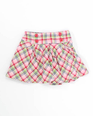 Girls Skirt 5 Plaid with Red Buttons