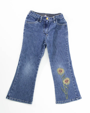 Girls Pants 5 Sunflowers on Leg