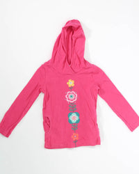 Girls Top 5 LS Hoodie with Flowers & Pockets