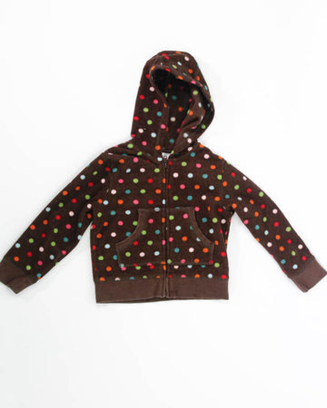 Girls Top 6 Hoodie with Polka Dots