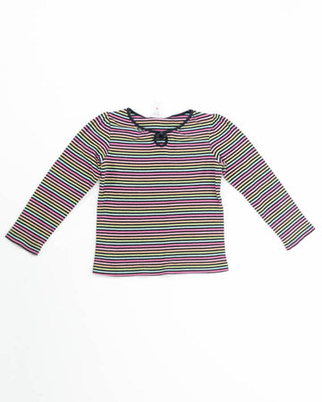 Girls Top 5 LS Multi Stripes