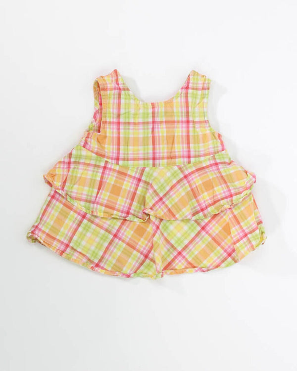 Toddler Girls Tank 5T Plaid Butterfly Buttons 13 - TAN WEEK 1.56 Live Now Consign