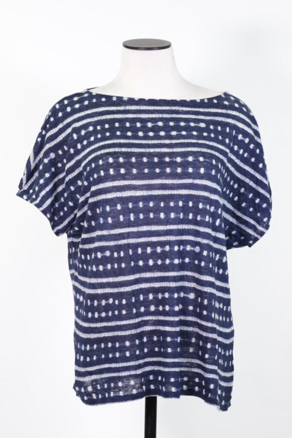 Ladies Top Small Navy/White SS Blouse