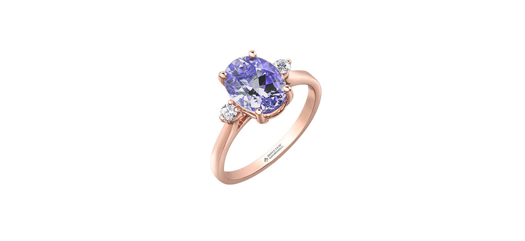 Rocks 9ct Rose Gold Diamond & Amethyst Dress Ring