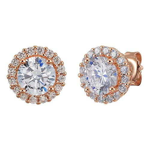 Rose Gold Halo Stud Earrings|