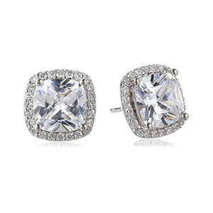 Large CZ Cushion Cut Claw set with Halo Detail Earrings