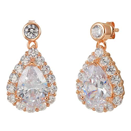 Rose Gold Pear Halo Drop Earrings