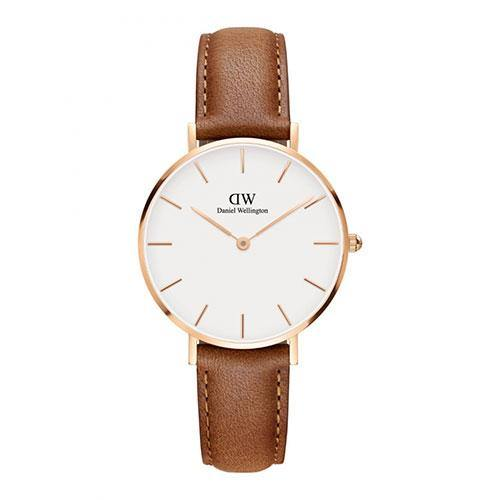 Daniel Wellington Petite Rose Gold on Light Brown - Rocks Jewellers