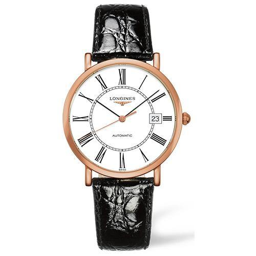Longines Elegant Gents Automatic Rose Gold on Black Leather - Rocks Jewellers