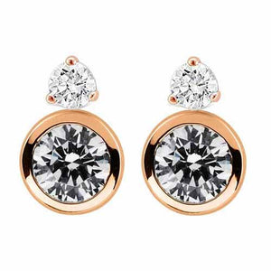 Rose Gold Rubover & 3 Claw CZ Earrings
