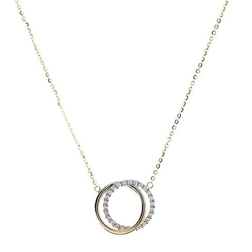 CZ Double Open Circle Pendant