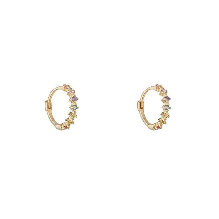 Multi Coloured CZ Hoop Earrings