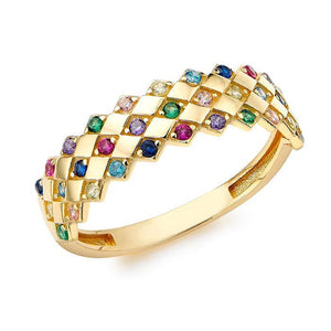 Rocks Double Row Mixed CZ Ring N - Rocks Jewellers