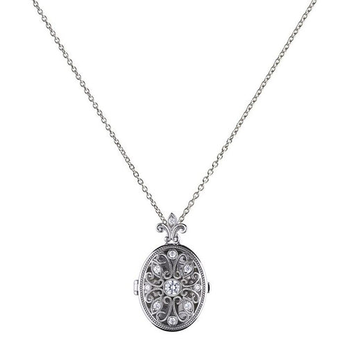 DiamonFire Oval Filigree CZ Locket - Rocks Jewellers