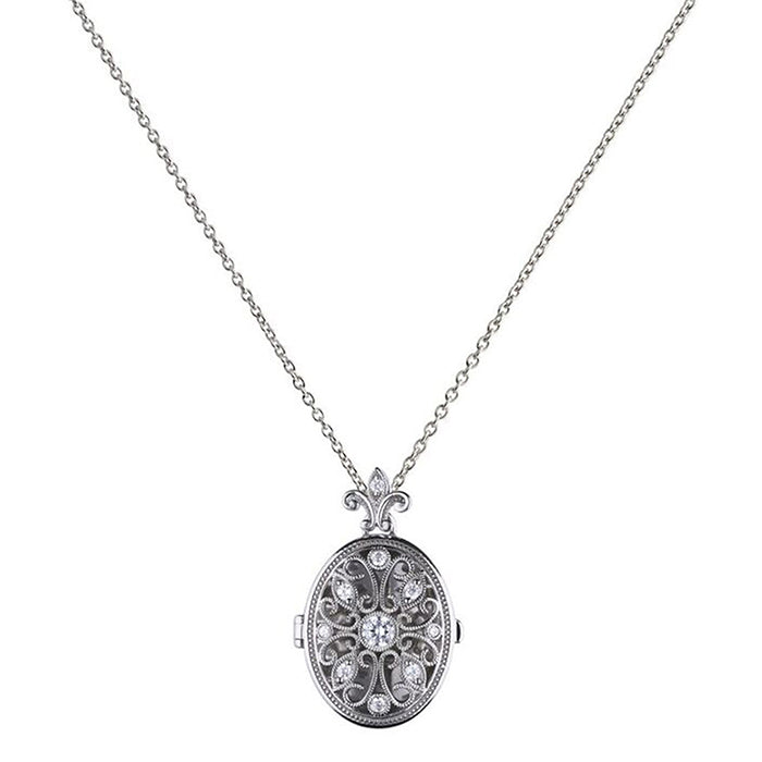 Oval Filigree CZ Locket