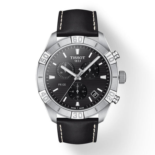 Gents Black Leather Chronograph|