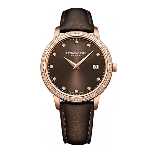 Toccata Ladies Rose Gold on Brown Leather