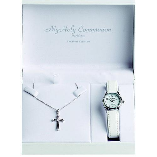 Rocks Religious Cross with CZ Detail and Watch Set - Rocks Jewellers