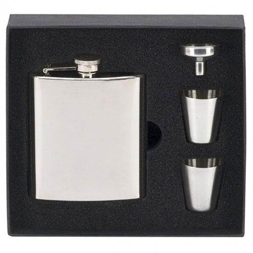 Black Leather Hip Flask Gift Set