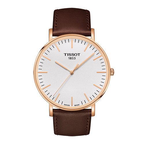 Tissot Everytime Gents Rose Gold on Brown Leather - Rocks Jewellers