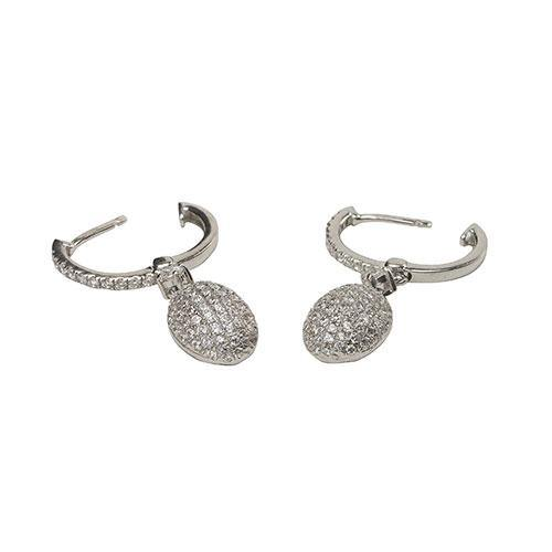 Rocks CZ Pave Drop Earrings - Rocks Jewellers
