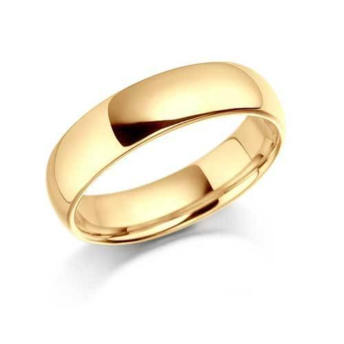 Gents Gold Plain Polished Wedding Band