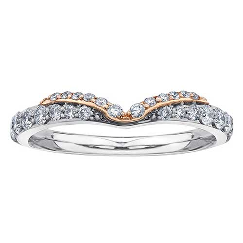 Ladies White and Rose Gold Wedding Ring