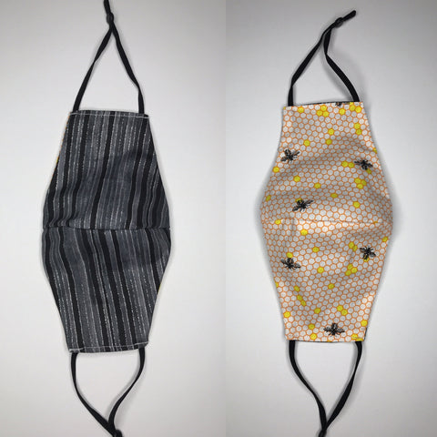 Honeycomb and Black Stripe with Sparkle Reversible Face Mask - SNIPSxMontana