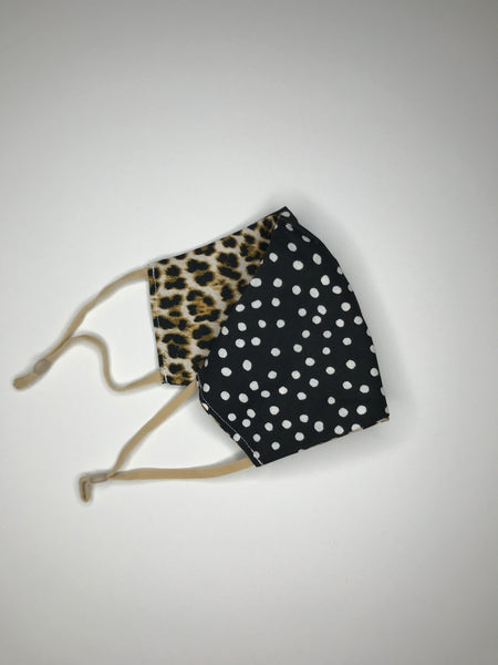 Tan Cheetah and Black and White Polka Dot Reversible Face Mask - SNIPSxMontana