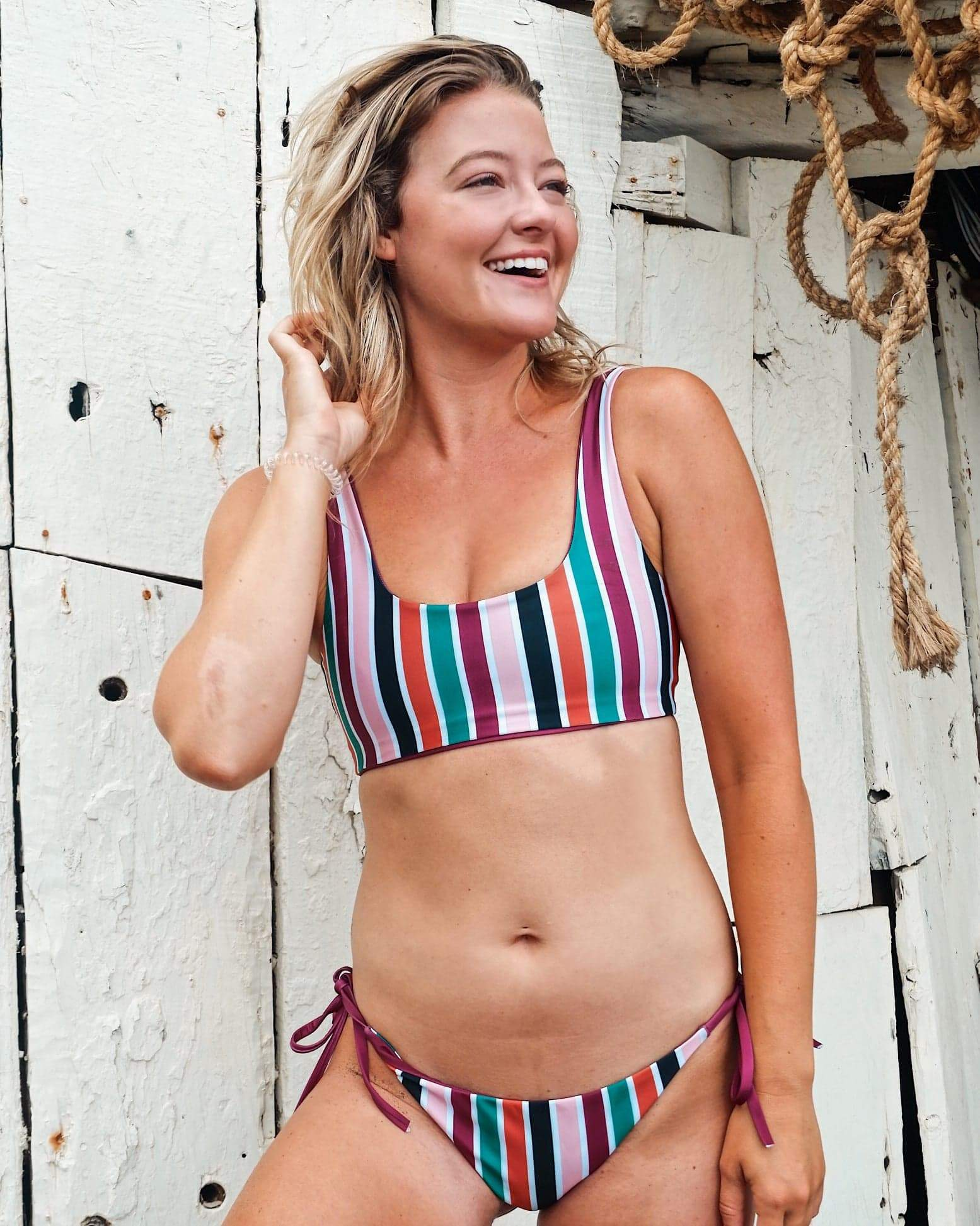 Savannah Wine/Stripe 2.0 Reversible Bikini Bottom