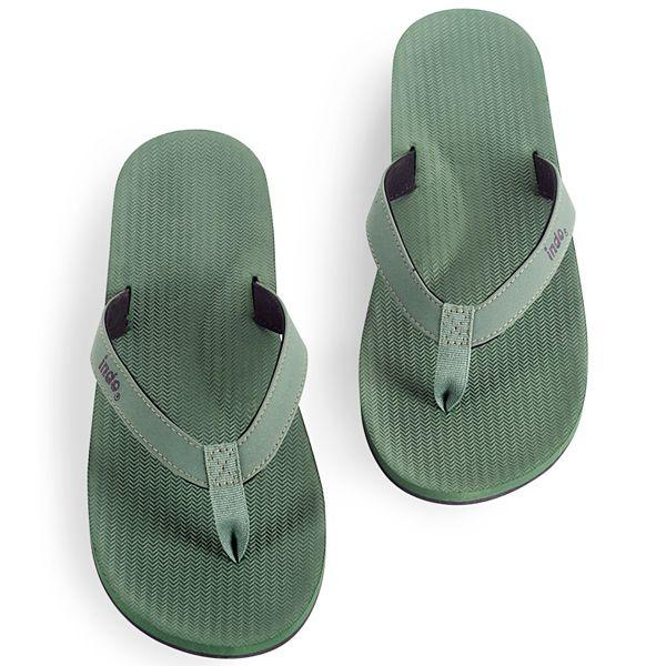 Mens 100% recycled thongs in leaf green by Indosole Australia