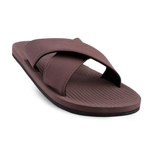 Women's 100% recycled cross slides in soil brown by Indosole Australia
