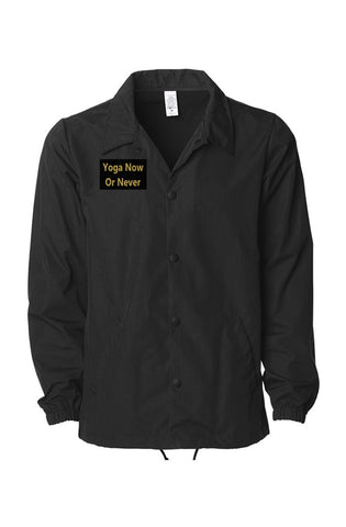 Men Black On Black Coaches Jacket - Embroidery (Made in USA)