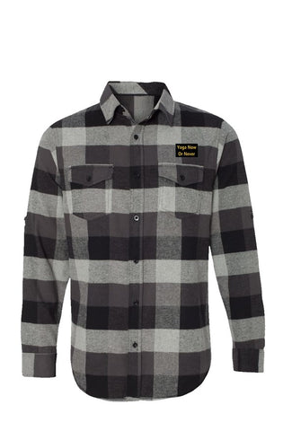 Long Sleeve Top Quality Flannel Grey And Black - Embroidery (Produced & Shipped from USA)