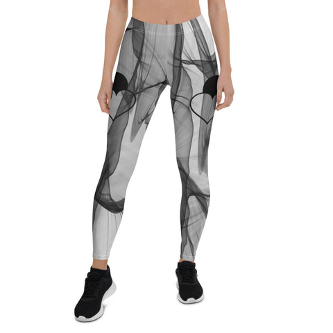 Trendy Yoga Zumba Fitness Leggings with Black Heart
