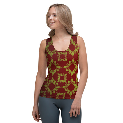 Bohemian Hippie - Elegant Body Hugging Tank Top, Custom Fabric Design/Cut & Sew (Wine & Gold)