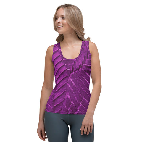 Elegant Body Hugging Tank Top, Custom Fabric Design/Cut & Sew (Mosaic Plum & Gold)