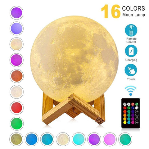 3D Print Moon/Globe Lamp Night Light, USB Rechargeable, LED Bulb - GreenLime Online Store
