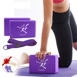 Yoga Block Set, Brick Bolster with Stretch Belt Aid