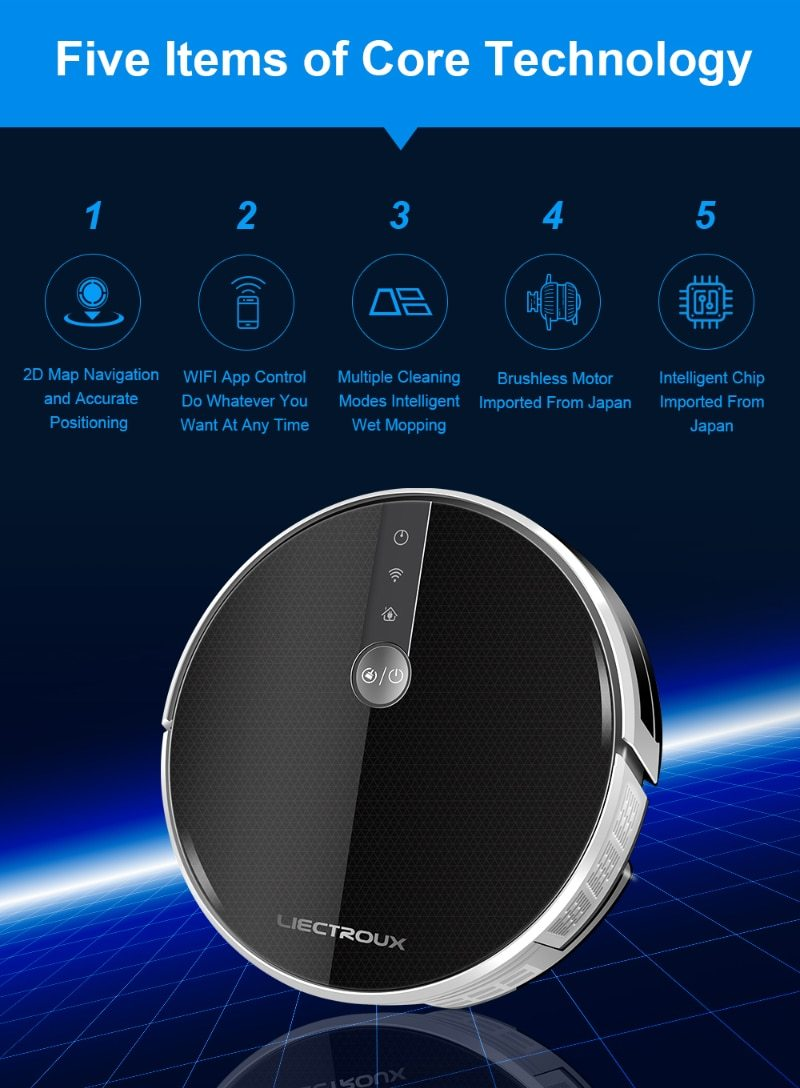 Robot Vacuum Cleaner, Smart Memory, WiFi APP Map Display