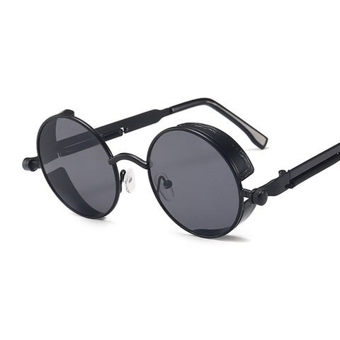 "Classic Gothic Steampunk Sunglasses, ""FLIP"" Round Frame"