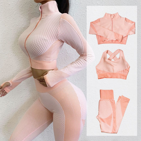YOGA Fitness Suits, Sport Outfits, 3-Piece Sets Long Sleeve Shirt+Sport Bra+Seamless Leggings