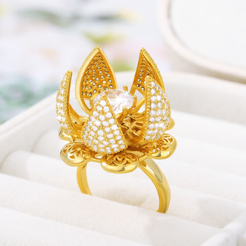 Wow – Beautiful, Exotic, and Adjustable Flower Bud Blooming Jewelry Ring