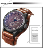 Men Luxury Quartz Waterproof Watches with Leather Band