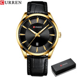 Men Quartz Waterproof Watches with Leather Strap, Business Class