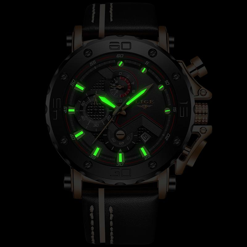 LIGE Waterproof Sport Chronograph Quartz Watch
