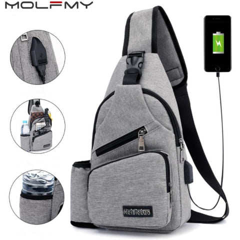 Safe Travel Shoulder Bag - External USB Charging (incline shoulder bag for men & women) - GreenLime Online Store