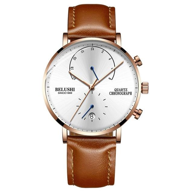 BELUSHI Quartz Waterproof Watch with Leather Strap